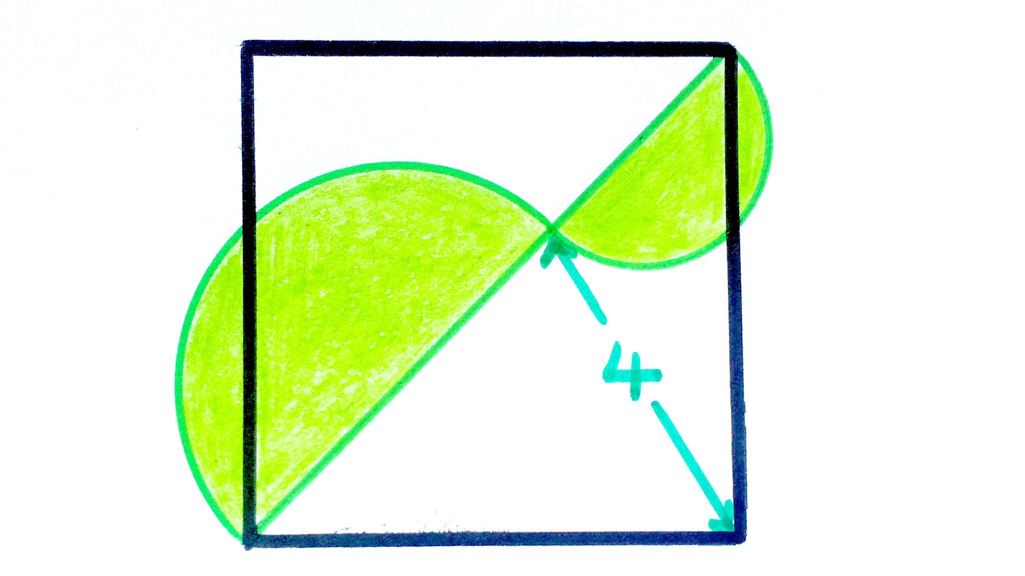 Calcula el área de la parte sombreada